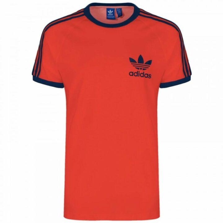 Adidas 3 Stripes piros férfi póló