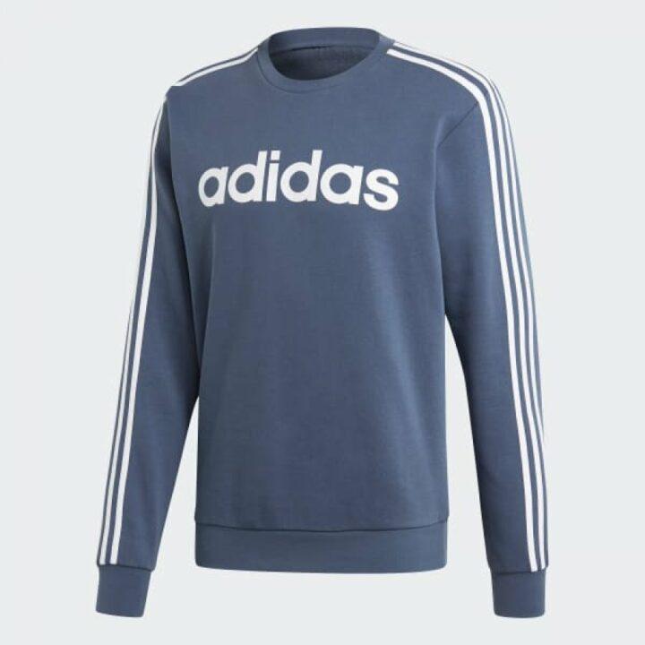 Adidas Essentials 3 Stripes kék férfi pulóver