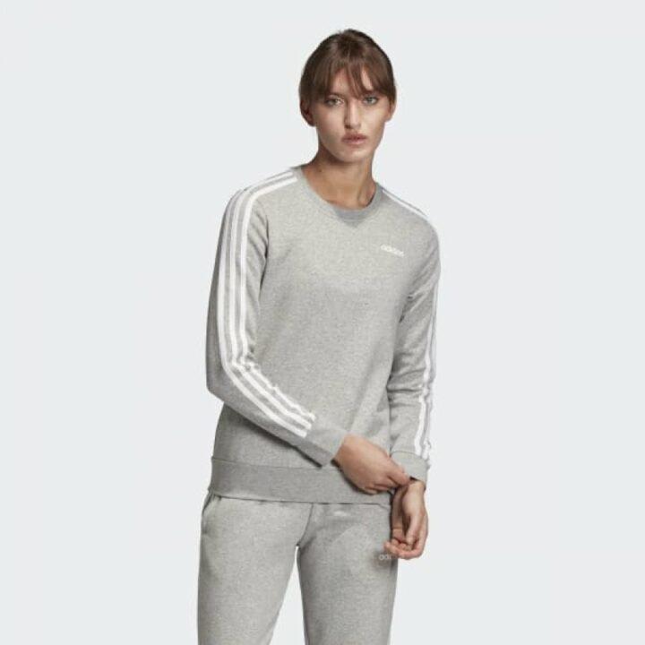 Adidas Essentials 3 Stripes szürke női pulóver