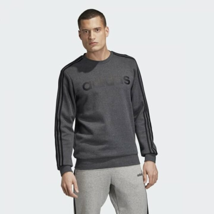 Adidas ESSENTIALS 3-STRIPES szürke férfi pulóver