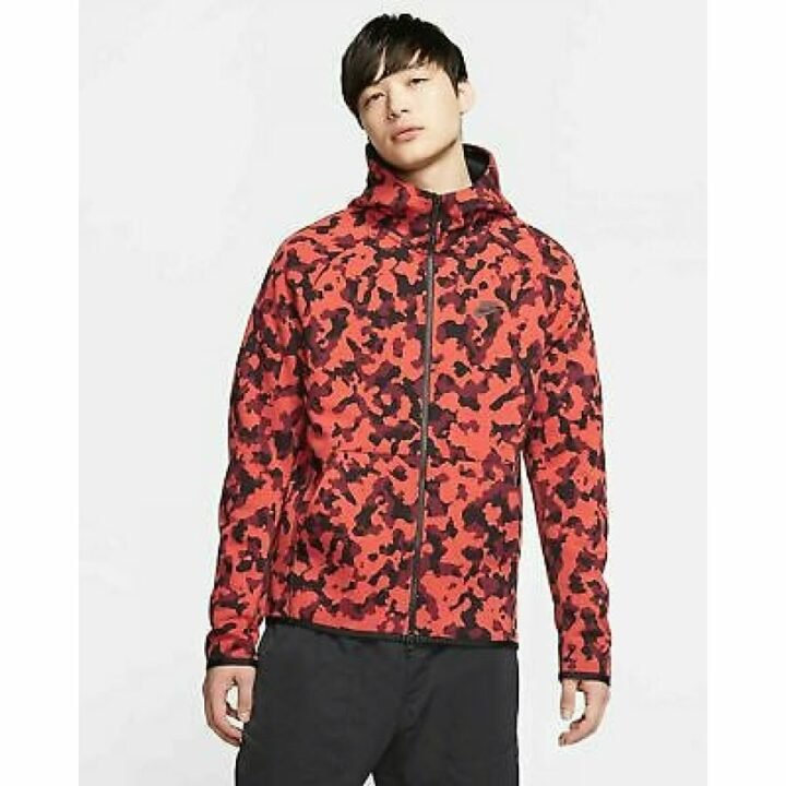 Nike camouflage piros férfi pulóver