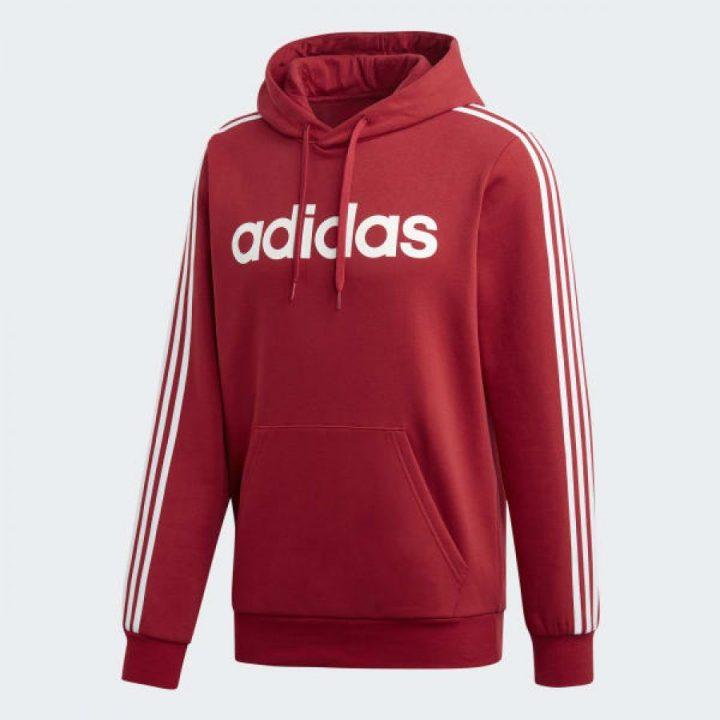 Adidas Essentials 3 stripes piros férfi pulóver