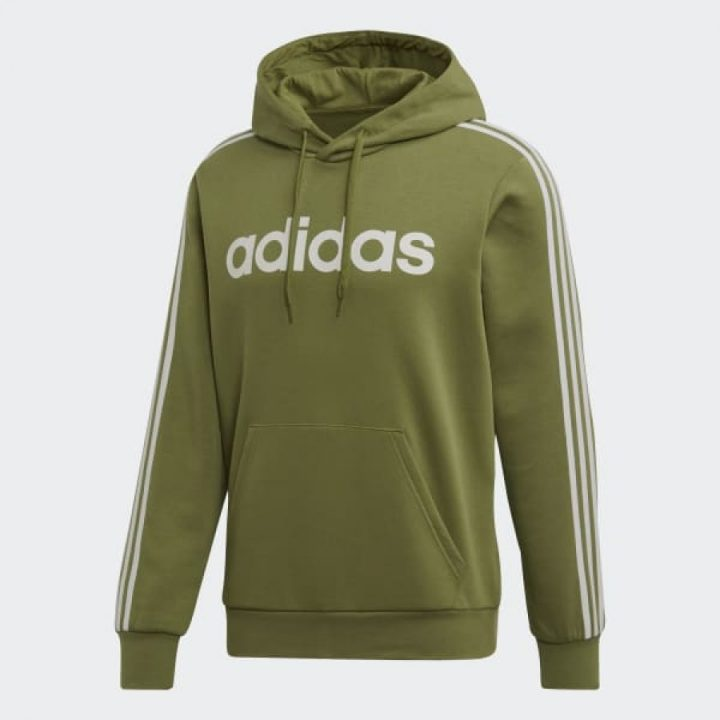Adidas Essentials 3 stripes zöld férfi pulóver