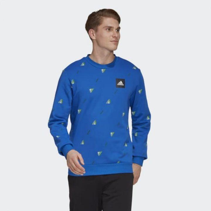 Adidas MHE Crew GFX kék férfi pulóver