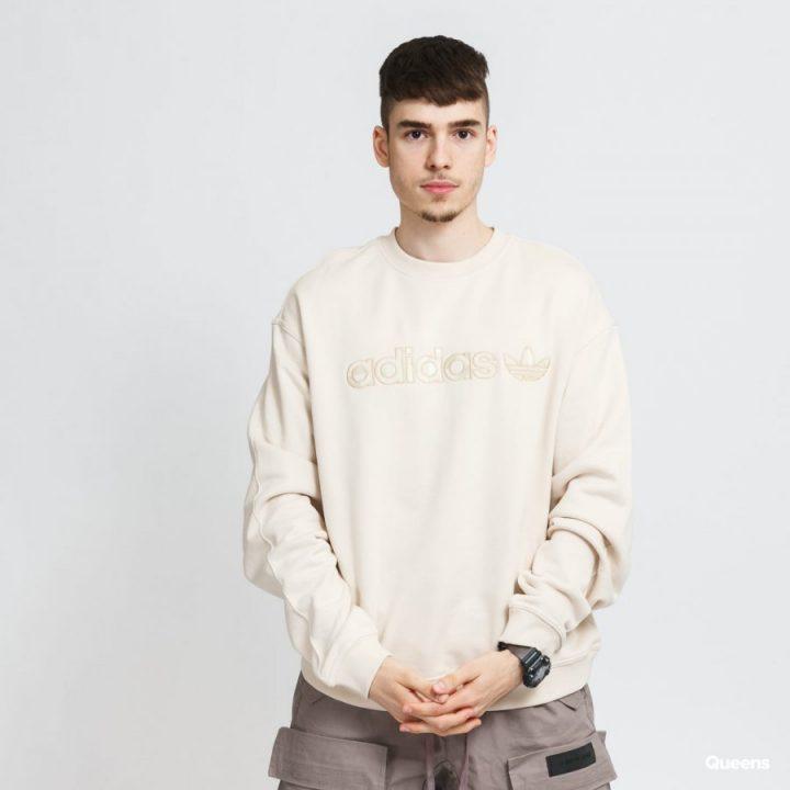 Adidas Embroidered Crew bézs férfi pulóver